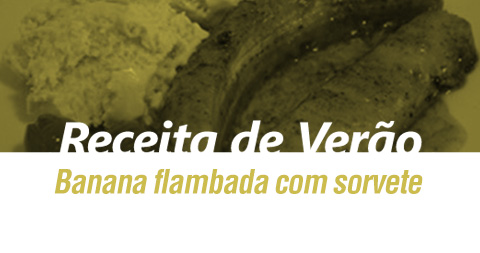 Banana flambada com sorvete